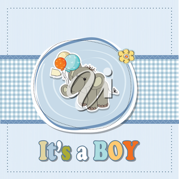 Royalty Free Clipart Image of a Boy Birth Announcement With an Elephant