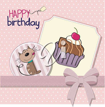 Royalty Free Clipart Image of a Happy Birthday Card With a Cat and Cake