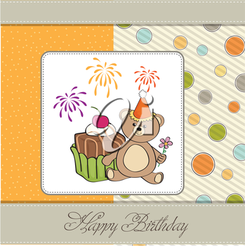 Royalty Free Clipart Image of a Birthday Card With a Bear