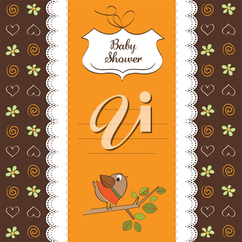 Royalty Free Clipart Image of a Baby Shower Card With a Bird