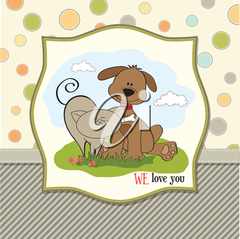 Royalty Free Clipart Image of a We Love You Message With a Dog and Cat
