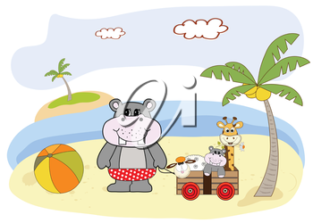 Royalty Free Clipart Image of a Hippo at the Beach