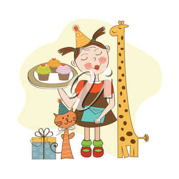 Happy Birthday card with funny girl, animals and cupcakes, vector illustration