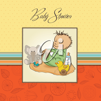 little baby boy play with his toys. shower card in vector format