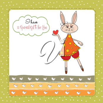 cute little doe who gives her heart. romantic and funny love greeting card