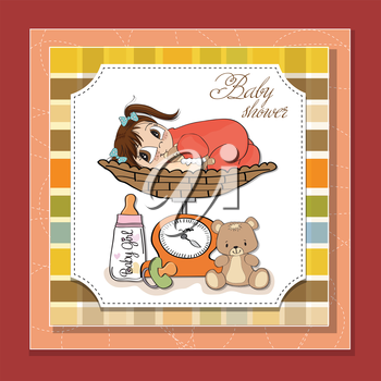 Beautiful baby girl on on weighing scale, vector illustration