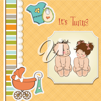 baby twins shower card, vector illustration
