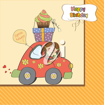 birthday card with funny little girl in vector format
