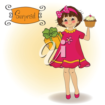 birthday greeting card with girl and big cupcake, illustration in vector format