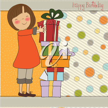 young girl with gift, vector illustration