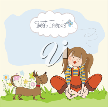 romantic girl sitting barefoot in the grass with her cute dog, vector illustration