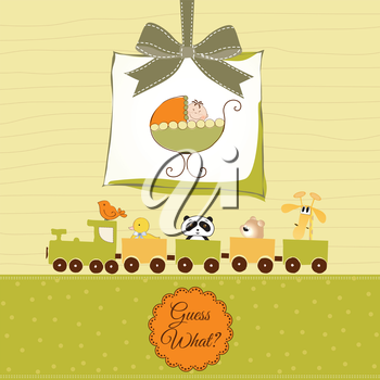 baby shower card with cute stroller, vector format