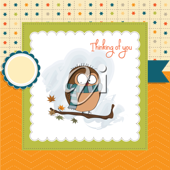 funny male bird with scarf, vector illustration