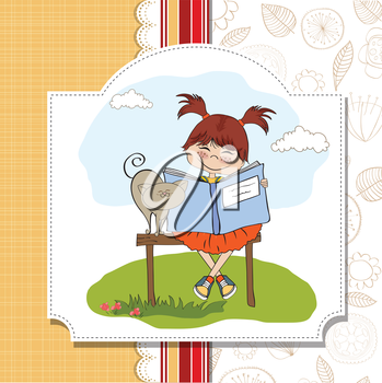 young sweet girl reading a book
