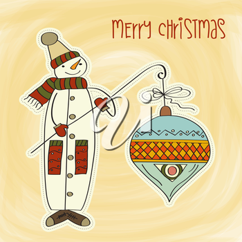 snowman with big Christmas ball, vector illustration