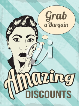 retro illustration of a beautiful woman and amazing discounts message, vector format