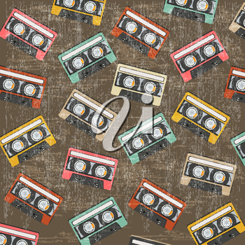 seamless background with vintage analogue music recordable cassettes, vector illustration