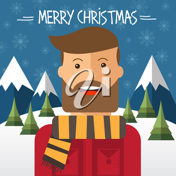 Christmas card with hipster male in flat style. Vector illustration.