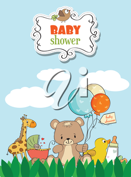 Beautiful baby shower card with toys