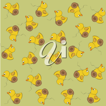 joyful vector seamless pattern with duck toy