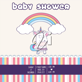 Beautiful baby shower card template with lovely baby girl unicorn, vector format
