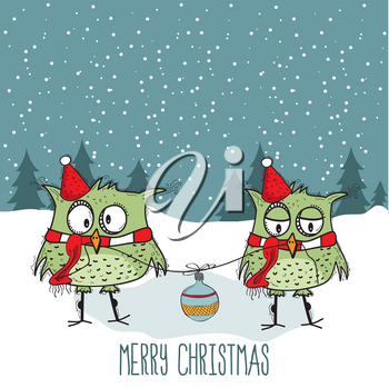 Funny Christmas card with cute owls