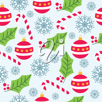 Christmas seamless pattern with snowflakes, candy canes, globes and mistletoe for Christmas background ,  wrapping paper, print. Vector