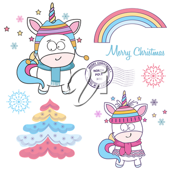 Magical Christmas unicorns collection on white background