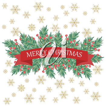 Retro Christmas card with tree branches and greetings. Flat design