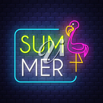 Summer holiday banner. Neon banner. Neon sign. Vector.