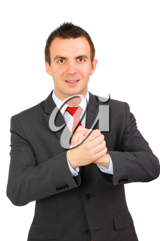 Cheerful businessman ready for handshake. Isolated over white.
