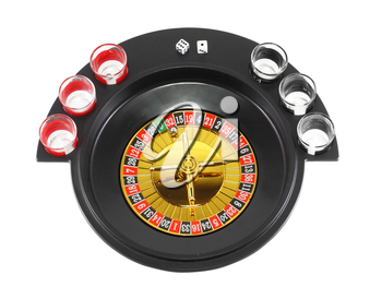 Drinking casino roulette, top view. Isolated