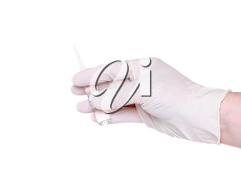 Hand in medical gloves, with ampule on white background. Isolated
