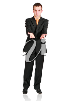 Cheerful businessman show empty hands. Isolated over white