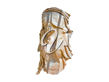 Souvenir masks - the face  of the Arabian (east) women made of a leather. Isolated over white.