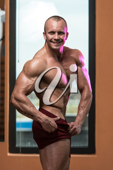 Bodybuilder Performing Quarter Turn Right Pose