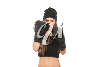 Young Muscular Sports Girl In Boxing Gloves - Isolated On White Background