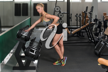 Young Woman Exercising Back With Dumbbells In The Gym And Flexing Muscles - Muscular Athletic Bodybuilder Fitness Model