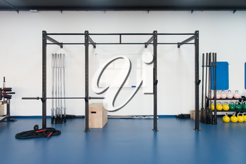 Whiteboard And Machines At The Modern Gym Room Fitness Center