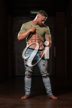 Portrait Of A Young Physically Fit Man In Jeans And T-shirt Showing His Well Trained Body - Muscular Athletic Bodybuilder Fitness Model Posing After Exercises
