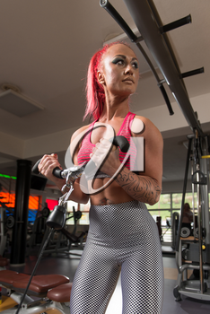 Woman Working Out Biceps In A Gym On Machine With Cable