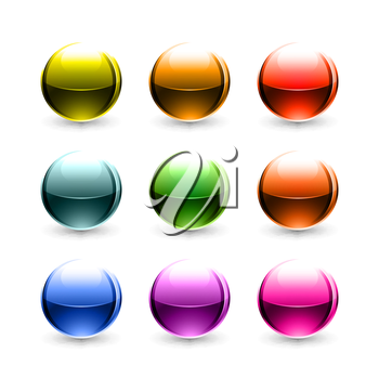 Royalty Free Clipart Image of a Set of Colourful Circles