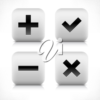 Stone web 2.0 button validation symbol sign. White rounded square shape with black shadow and gray reflection on white background