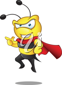 Royalty Free Clipart Image of a Caped Bumblebee