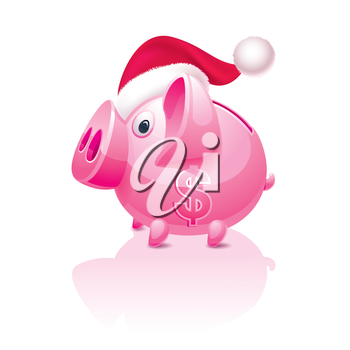 New Year's Christmas piggy bank with a dollar sign