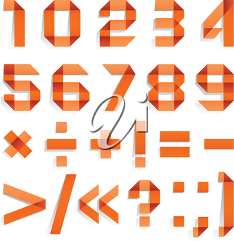 Font folded from colored paper - Arabic numerals, orange