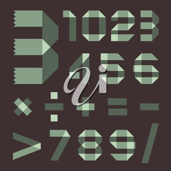 Font from spindrift scotch tape - Arabic numerals (0, 1, 2, 3, 4, 5, 6, 7, 8, 9).