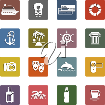 Travel, Vacation & Recreation, icons set - Retro color version, vector illustration