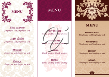 Set Ornamental flowers Menu design