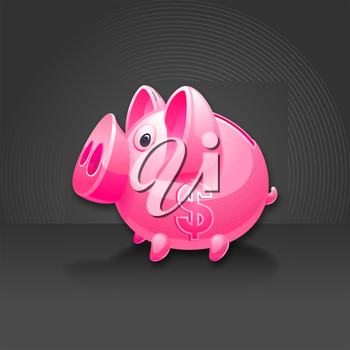 Pink piggy bank with dollar sign. Black background
